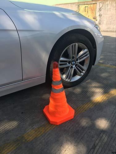 Worth Garden 1 x Cono da parcheggio Pieghevole per Traffico Stradale Coni 45cm PP Materiale con Coni di Sicurezza Leggeri Cono di Avvertimento batterie escluse