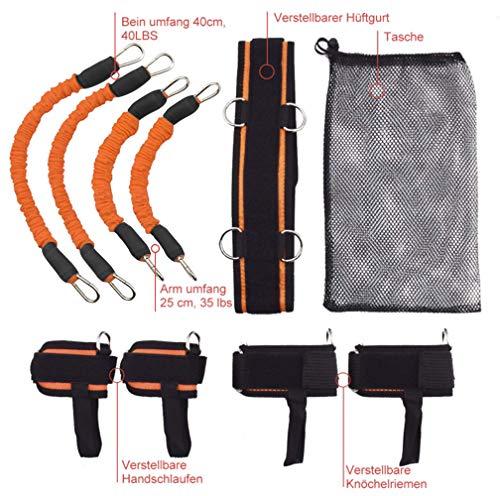 YNXing Strength Training Rope per Boxe Basket Scherma Allenamento Resistenza Corda Blu Stretch Cord Tensione Corda Attrezzature per Il Fitness Kit Arancione