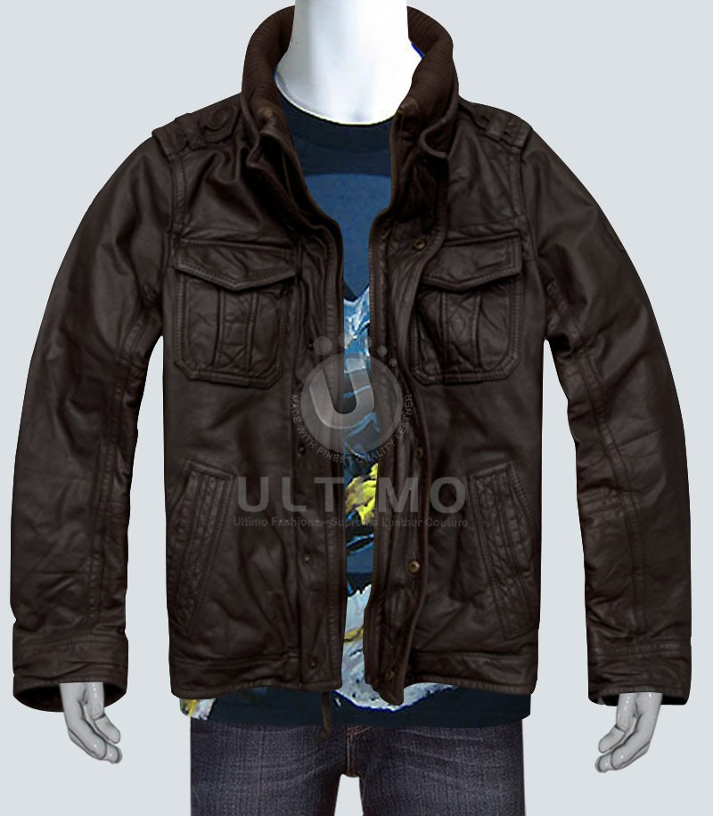 Dark Brown Stylish Bomber Jacket