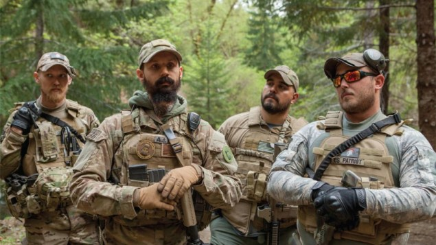 A group of Oath Keepers in Josephine County during the Sugar Pine Mine conflict. Photo by Shawn Records for VICE. SOURCE: https://www.vice.com/en_us/article/exq8en/miner-threat-0000747-v22n9