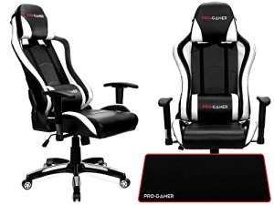 Chaise de jeu Falcon ergonomique Gaming, Proffessional Joueur Motif Home Office Computer Chaise pivotante Racing, Tapis de souris Pro Gamer pour gratuit. PU Cuir rembourré Chaise de bureau avec chaise inclinable et chrome. Tapis de souris.