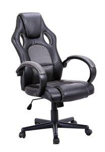 Fauteuil de bureau gaming ergonomique et confortable – noir et gris – design siège baquet – collection GAMER