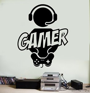 Wallstickers4you Autocollant Mural Gaming Gamer Manette de Jeux Vidéo en Vinyle (Z3088) M 22.5 in X 30 in Noir