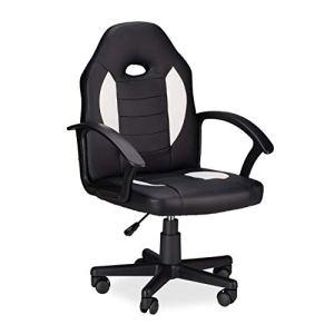 Relaxdays Chaise de Gaming XR7pivotant 360° pour Gamer Hauteur réglable pour Bureau jusqu'à 120kg Style Racing Noir Blanc, 90x 57x 50cm