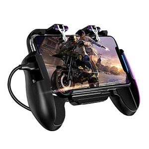 SQUAREDO PUBG Manette de Jeu Mobile – Gaming Gamepad Cooler Ventilateur de Refroidissement Fire PUBG Manette de Jeu Mobile Manette de Jeu Joystick en métal L1 R1 déclencheur