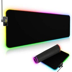 Tronsmart Spire Gaming Tapis de souris RGB Extra Large, Lumineux Effets LED Mousepad, Surface XXL imperméable Étendue , Tapis de support antidérapant Gamer USB Rétroéclairé 800 x 300 x 4 mm