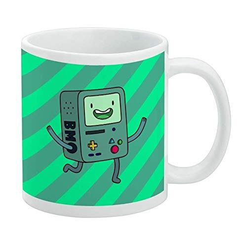 YHJUI Adventure Time BMO Jouez aux jeux vidéo Mug blanc