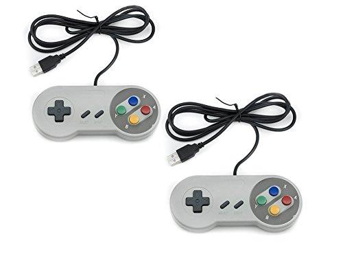 QUMOX 2X SFC Manette de Jeu pour Jeux Nintendo pour Windows PC USB Super Famicom
