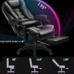 Chaise ergonomique avec soutien lombaire pour gaming, bureau, ordinateur de course, jeu vidéo, dossier et hauteur du siège réglable en cuir PU pour la maison et le travail (couleur : noir)