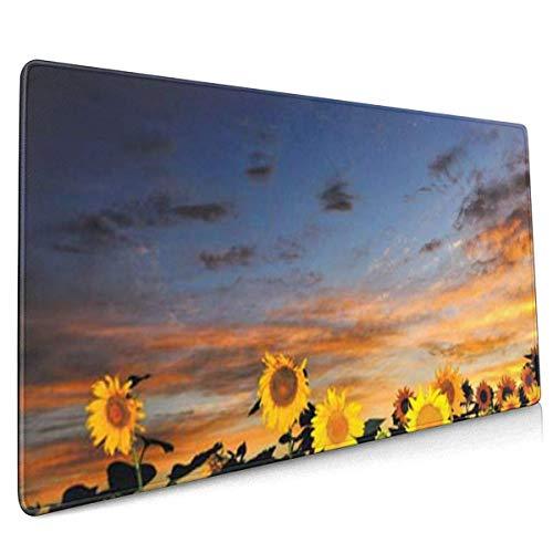Grand tapis de souris pour gamer, motif tournesols au coucher du soleil et bords cousus (80 x 40 cm)