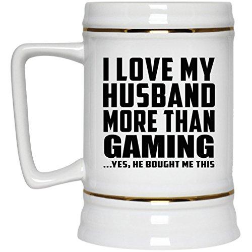 I Love My Husband More Than Gaming – Beer Stein Chope De Bière Chope En Céramique Mug Pour Bar – Cadeau pour Anniversaire Fête des Mères Fête des Pères