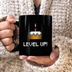 MoonWorks® Tasse à café d'anniversaire Level Up Gâteau Pixel Retro Gamer Graphique Pixel Cadeau Arcade MoonWorks® Noir Taille unique