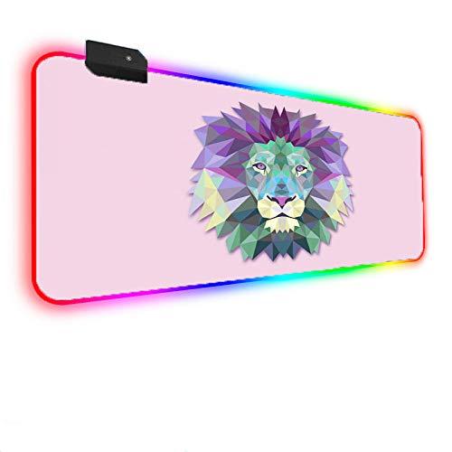 RGB Grand Tapis de Souris de Gaming, Base en Caoutchouc antidérapant, Bord Cousu, pour Jeux vidéos ou Travail de Bureau Tigre coloré sur Fond Rose 500x1000x4mm