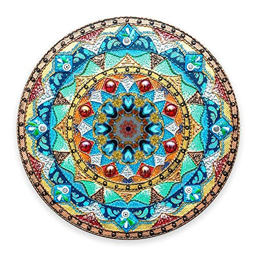 Superbe tapis de souris rond en caoutchouc antidérapant pour peinture à l'huile et aquarelle, motif mandala, idéal pour le travail et les jeux vidéos