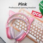 Casque sans fil, lumière RVB, casque de jeu stéréo surround 3,5 mm avec micro à mémoire douce pour PC, ordinateur portable, jeu vidéo avec contrôle du volume flexible (couleur : rose)