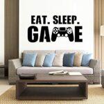 Sticker mural Gamer Eat Sleep Game sticker mural contrôleur jeu vidéo stickers muraux personnalisés pour enfants chambre vinyle mur Art 49x85cm