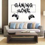 Sticker mural Gamer Zone de jeu Eat Sleep Game Controller Stickers muraux de jeu vidéo Personnalisés pour chambre d'enfants Sticker mural en vinyle 49x85cm