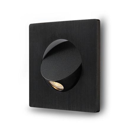 Elegante square Black recessed LED reading light