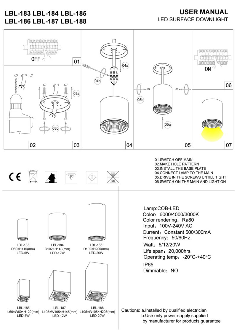 LBL-183-LBL-184-LBL-185 LED Soffit Light Installation guide