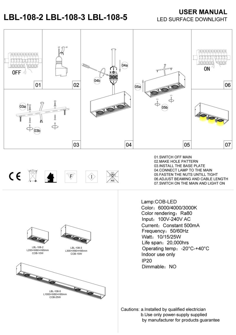 LBL-108-2-LBL-108-3-LBL-108 surface mounted LED downlight installation guide