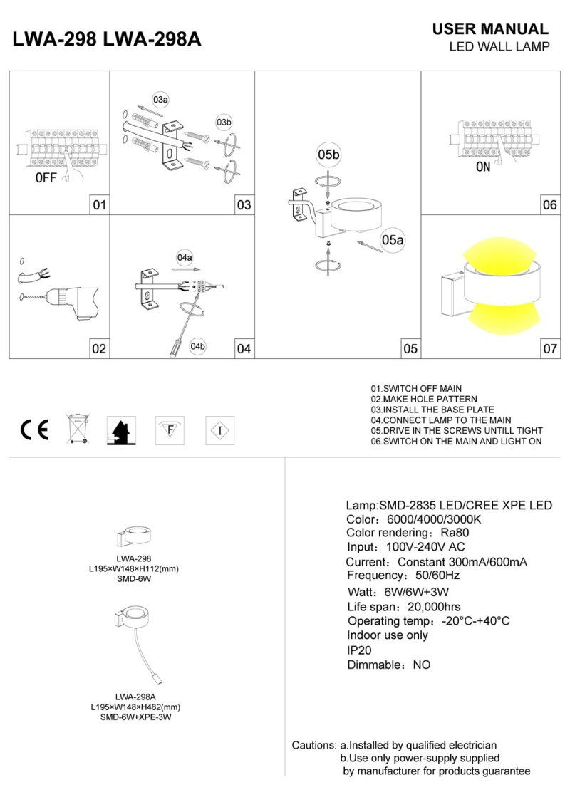 LWA298 LED bedroom wall light installation guide