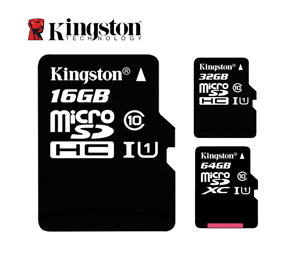 Kingston Micro Sd Sdhc Memory Card 16gb Class 4 With Full Size Sd Card Adapter