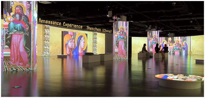 Mostra interattiva sul Rinascimento, multi schermo panoramico a Shenzhen (Cina).jpg