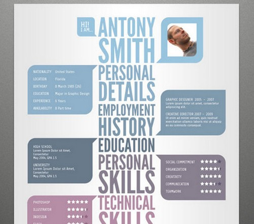 free artistic resume templates