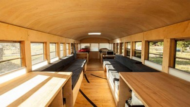 Photo of Student Turns an Old School Bus into a Cozy Mobile Home