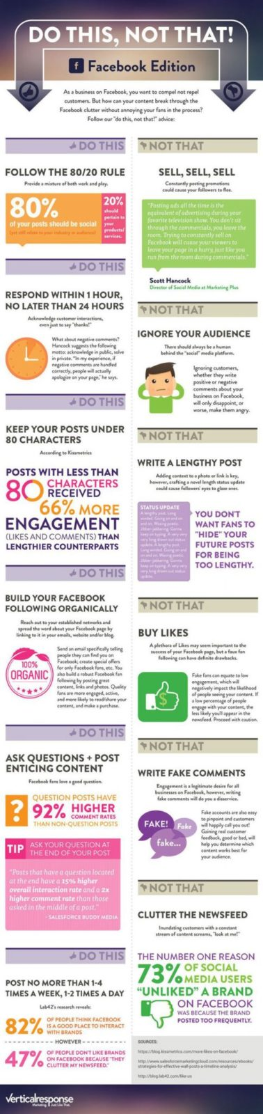 """""""Do This, Not That"""" Advice for Facebook Successful Business Page - Infographic"""