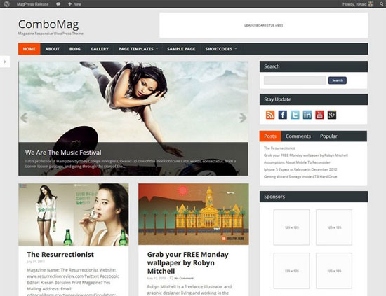 Wordpress Magazine Theme - ComboMag -