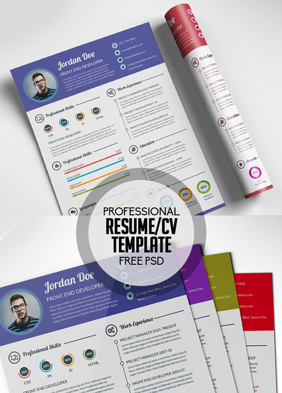 Free Professional infographic Resume CV PSD Template