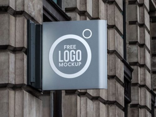 Free Wall Sign Logo Mockup PSD