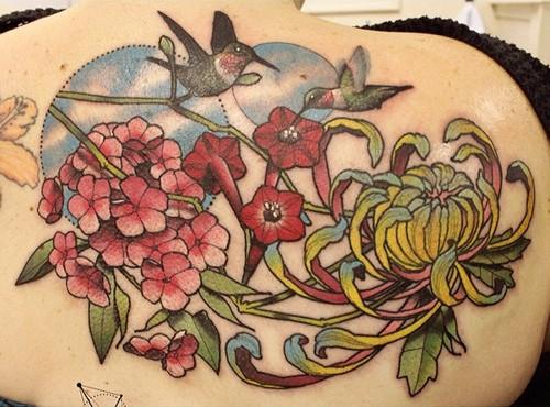 hummingbird and flower tattoo 2
