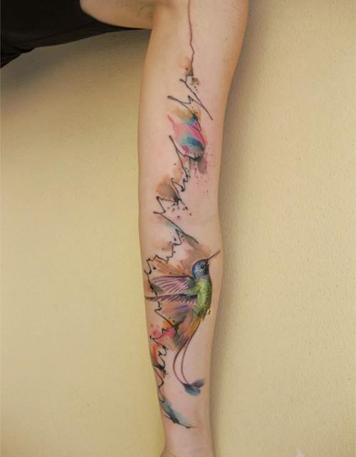 watercolor-hummingbird-sleeve-tattoo