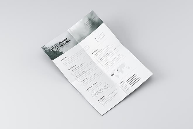 Clean Resume Template for Photoshop and Illustrator 1
