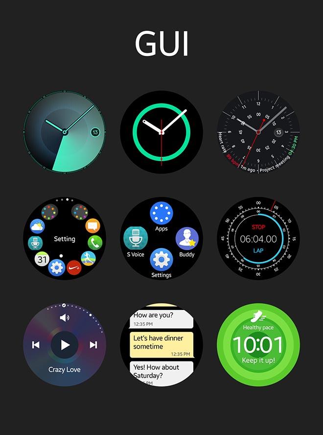 Free Samsung Gear S2 Smart Watch GUI PSD template