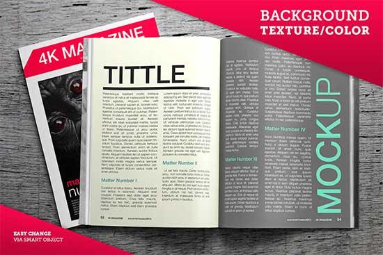 Free PSD Mockup 4K Magazine