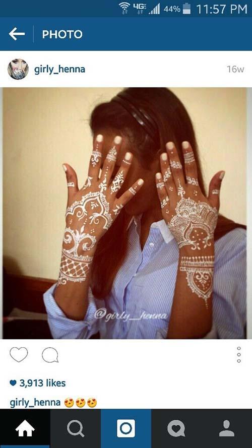 white mehndi deisngs instagram