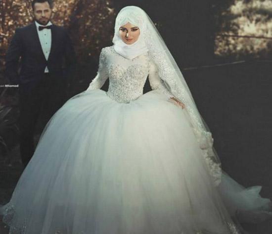 ball gown muslim bridal dress