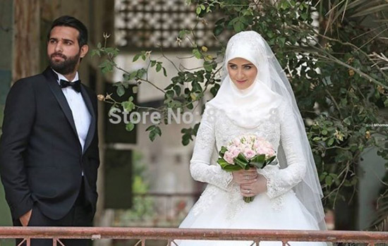 high neck long sleeve muslim wedding dresses 2