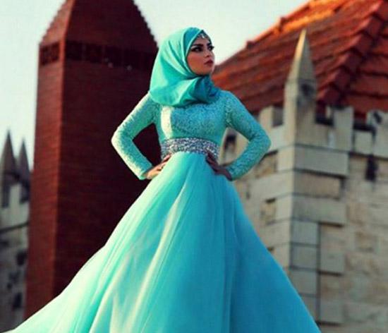 new islamic baby blue lone sleeve bridal hijab wedding dress
