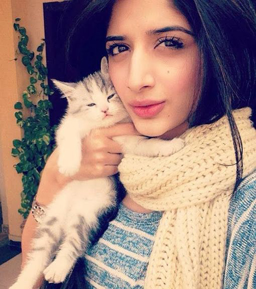 cute girls selfie with pet