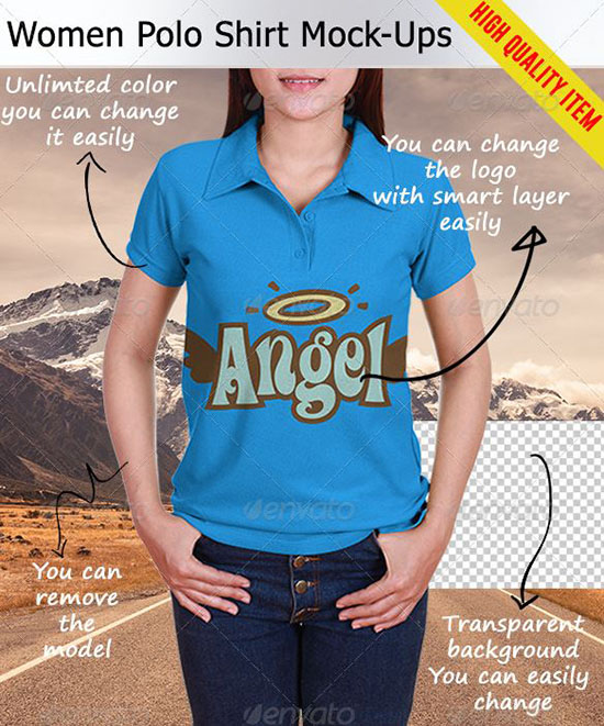 high quality women polo shirt mockup