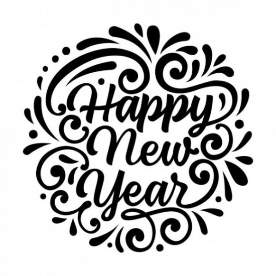 new year wallpaper backgrounds black and white