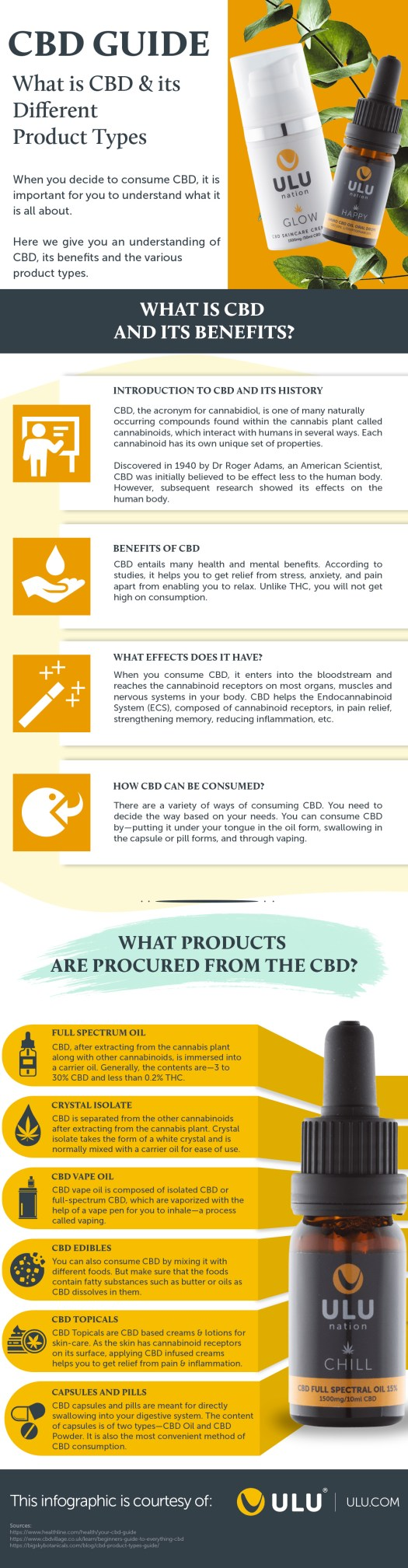 CBD Guide and its Different Product Types Infographic