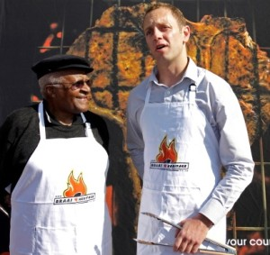 Archbishop Desmond Tutu celebrating National Braai Day with Jan Scannell