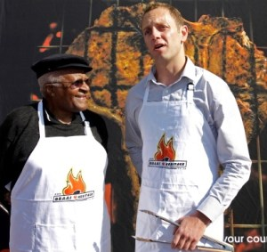 Archbishop Desmond Tutu celebrating National Braai Day with Jan Scannell