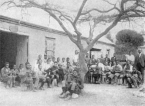 Ohlange shoe-making class, John Dube on the right