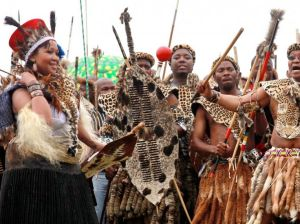 A traditional Zulu bridal outfit